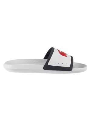 Lacoste Croco Tri3 CMA Sliders - White/Navy/Red