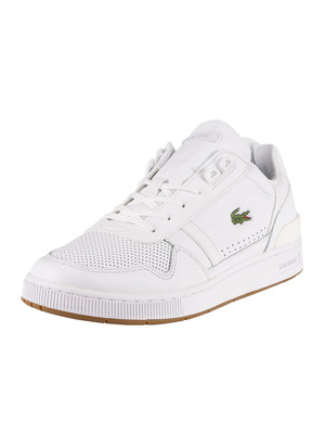 Lacoste T-Clip 220 2 QSP SMA Leather Trainers - White/Gum
