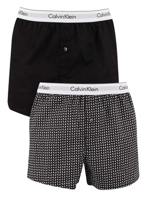 Calvin Klein 2 Pack Slim Fit Boxers - Black/Daisy Dot