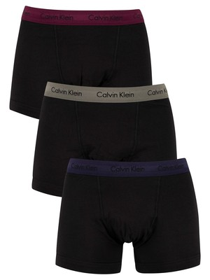 Calvin Klein 3 Pack Trunks - Blue/Wild Fern/Raisin Torte