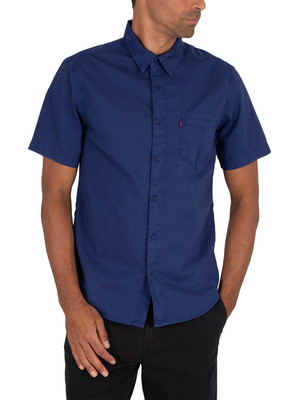 Levi's Sunset Pocket Shortsleeved Shirt - Garment Dye Blue
