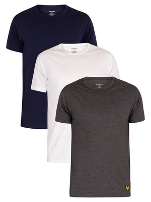 Lyle & Scott 3 Pack Maxwell Lounge Crew T-Shirts - White/Dark Grey/Navy