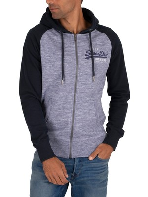 Superdry Premium Goods Zip Hoodie - Mist Blue Space Dye