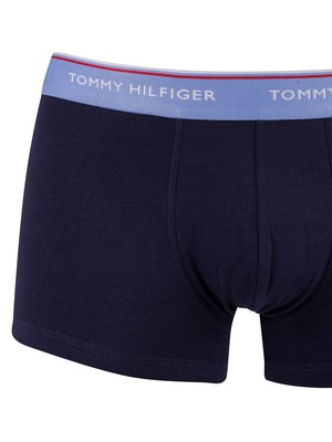 Tommy Hilfiger 3 Pack Premium Essentials Trunks - Cornflower Blue/Peacoat/White