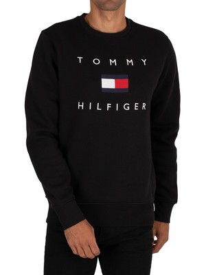 Tommy Hilfiger Flag Sweatshirt - Black