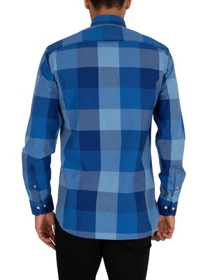 Tommy Hilfiger Flex Houndstooth Check Shirt - Phthalo Blue