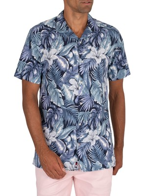 Tommy Hilfiger Hawaiian Print Shortsleeved Shirt - Washed Ink/Multi