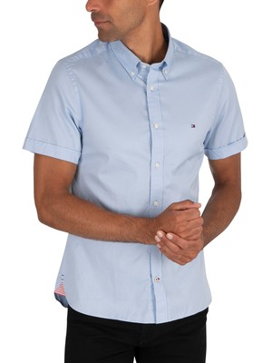 Tommy Hilfiger Slim Fine Twill Shortsleeved Shirt - Calm Blue