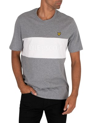 Lyle & Scott Colourblock Embroidered T-Shirt - Mid Grey Marl
