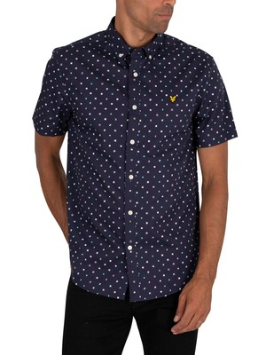 Lyle & Scott Flag Print Shortsleeved Shirt - Navy