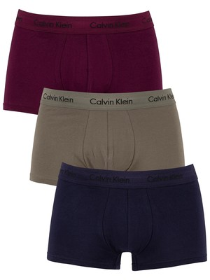 Calvin Klein 3 Pack Low Rise Trunks - Lost Blue/Wild Fern/Raisin Torte