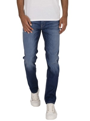 Jack & Jones Tim Original 919 Slim Straight Jeans - Medium Blue Denim