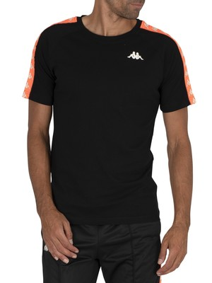 Kappa Coen Slim 222 Banda T-Shirt - Black/Neon Orange