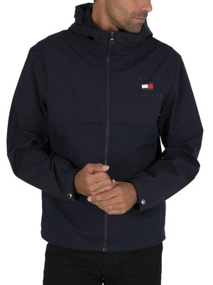Tommy Hilfiger Logo Hooded Jacket - Desert Sky