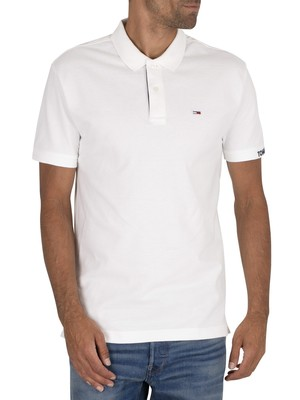Tommy Jeans Branded Rib Polo Shirt - White