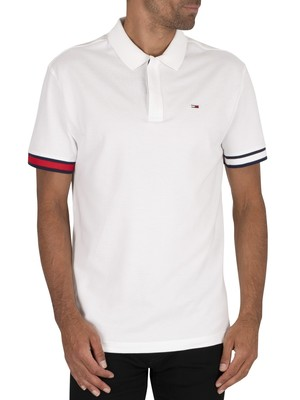 Tommy Jeans Branded Sleeve Polo Shirt - White