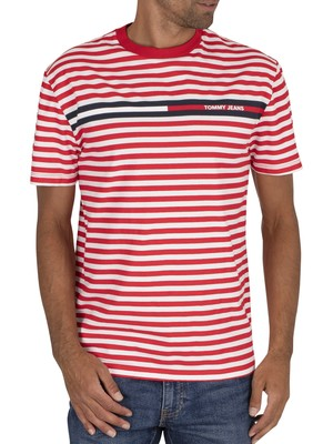 Tommy Jeans Branded Stripe T-Shirt - Deep Crimson/Multi
