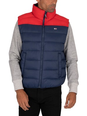 Tommy Jeans Colour Block Gilet - Twilight Navy/Deep Crimson