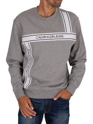 Calvin Klein Jeans Logo Tape Fashion Sweatshirt - Mid Grey Heather