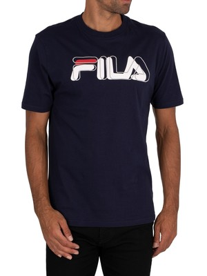 Fila Feechi Print Stich Embroidered T-Shirt - Peacoat/White/Red/Grey