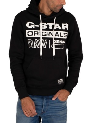 G-Star Orginals Printed Hoodie - Dark Black