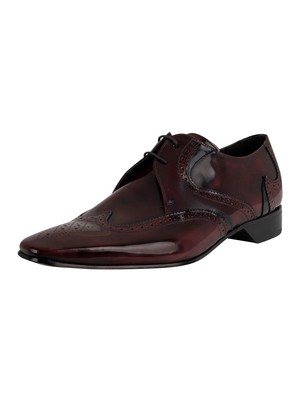 Jeffery West Derby Brogue Leather Shoes - Burgundy/Black
