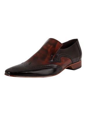 Jeffery West Leather Loafers - Dark Brown/Mid Brown