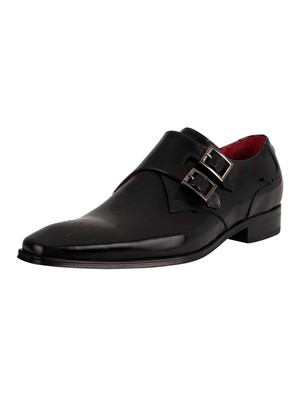 Jeffery West Monk Polished Leather Shoes - Black