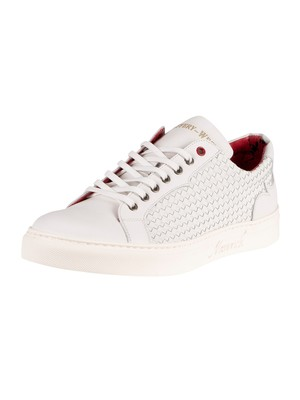 Jeffery West Woven Leather Trainers - White
