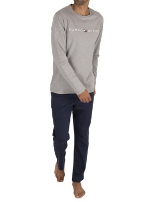 Tommy Hilfiger Longsleeved Jersey Pyjama Set - Grey Heather/Navy Blazer