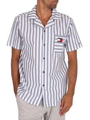 Tommy Hilfiger Shortsleeved Retro Pyjama Shirt - Coastal Fjord