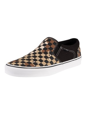 Vans Asher Camo Check Trainers - Black/White