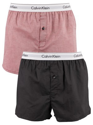 Calvin Klein 2 Pack Slim Fit Woven Boxers - Smoky Rouge Heather/Void