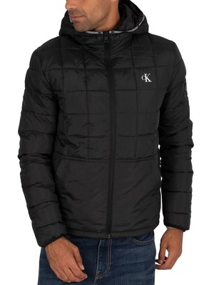 Calvin Klein Jeans Padded Hooded Jacket - Black