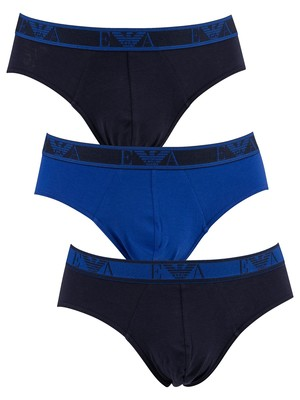 Emporio Armani 3 Pack Briefs - Marine/Blue