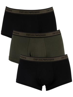 Emporio Armani 3 Pack Trunks - Black/Green