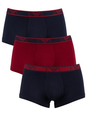 Emporio Armani 3 Pack Trunks - Marine/Red