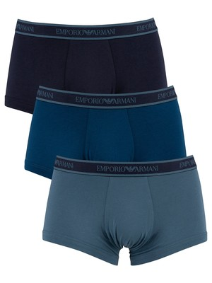 Emporio Armani 3 Pack Trunks - Green/Blue/Navy