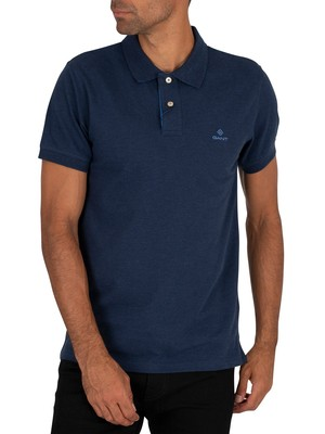 GANT Contrast Collar Pique Rugger Polo Shirt - Dark Indigo Melange