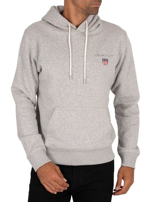 GANT Medium Shield Pullover Hoodie - Light Grey Melange