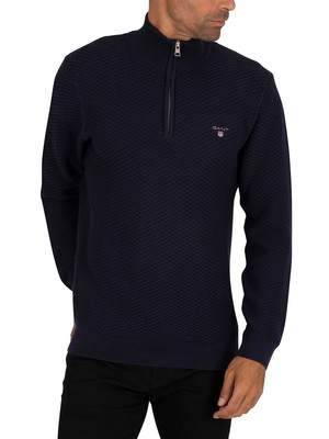 GANT Triangle Texture Half Zip Sweatshirt - Evening Blue