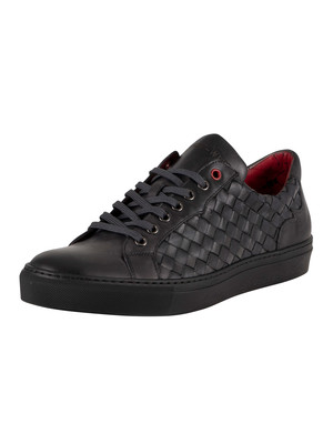 Jeffery West Woven Leather Trainers - Ash Black