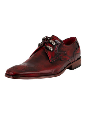Jeffery West Brogue Derby Leather Shoes - Red Polished