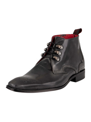 Jeffery West Brogue Polished Leather Boots - Silver