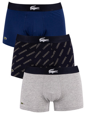 Lacoste 3 Pack Casual Trunks - Grey/Navy/Blue