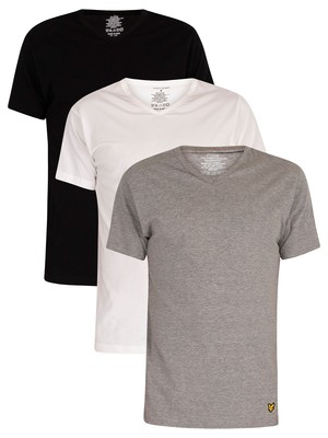 Lyle & Scott 3 Pack Parker Lounge V-Neck T-Shirts - White/Grey/Black