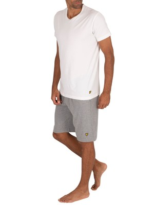 Lyle & Scott Charlie Lounge Pyjama Shorts Set - White/Grey