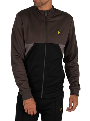 Lyle & Scott Geo Panel Zip Track Jacket - Raven/Jet Black