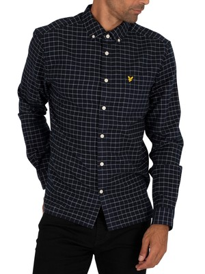 Lyle & Scott Grid Check Pocket Shirt - Dark Navy