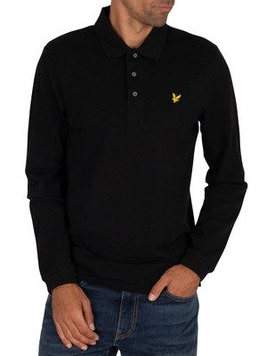 Lyle & Scott Longsleeved Logo Polo Shirt - Jet Black